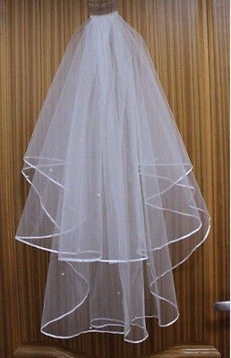 2T White/ Ivory Pearl Wedding Bridal Veil With Comb