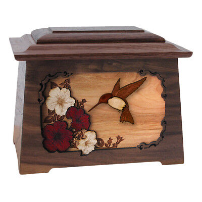 Wood Adult Cremation Urn (Wooden Urns) - Walnut Hummingbird Astoria