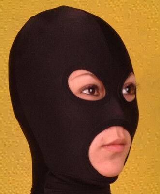 Lycra spandex Zentai Black Open eyes and mouth mask/hood