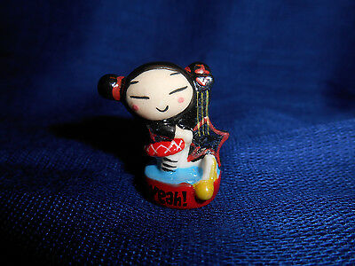 PUCCA Star GUITAR PUNK LOVE Mini Figurine French Porcelain FEVES Red YEAH! Base