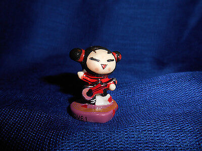 PUCCA with GUITAR PUNK LOVE Mini Figure French Porcelain FEVES Purple Heart Base