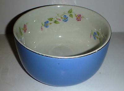 "Vintage Halls Kitchenware USA Morning Glory 7 1/2"" Straight Sided Blue Bowl VGC"