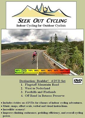 Indoor Cycling BEST VALUE! 4 DVDs = 4 virtual rides in Boulder CO, Brand New