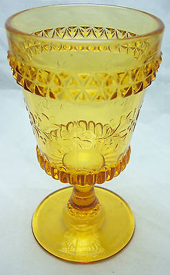 "L.G. Wright ~ Wildflower Pattern ~ 5.5"" Water Goblet~ Amber Free Shipping"