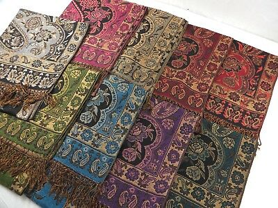 wholesale lot of 12 viscose pashmina scarf shawl thick paisley stole wrap