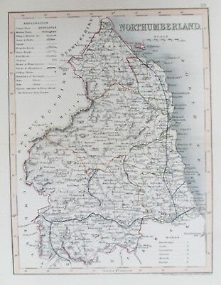 OLD ANTIQUE MAP NORTHUMBERLAND c1840's by ARCHER 19th CENTURY ANTIQUE ENGRAVING