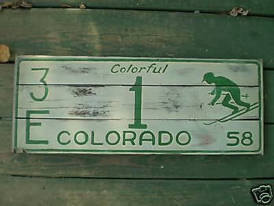 Colorful Colorado License Plate Ski Skiing Wooden Sign