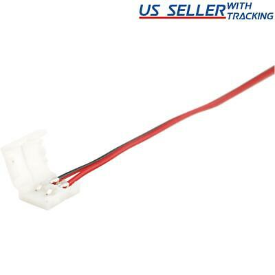 10-pack 10mm Solderless 2-Wire Connector Clip for 5050 LED Strip Light Power