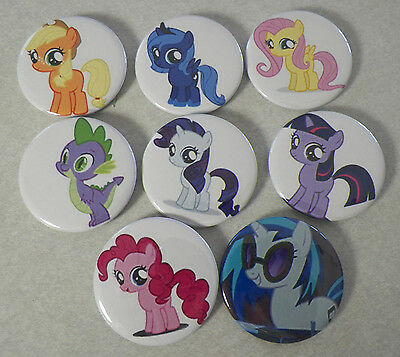 "MLP My Little Pony lot of 8 Large size 2 1/4"" pinback pins buttons badges"