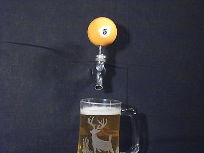 #5 POOL BALL BEER KEG TAP HANDLE KEGERATOR  **FREE PRIORITY SHIPPING**