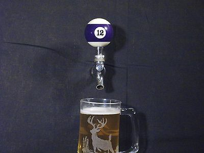 #12 POOL BALL BEER KEG TAP HANDLE KEGERATOR **FREE PRIORITY SHIPPING**