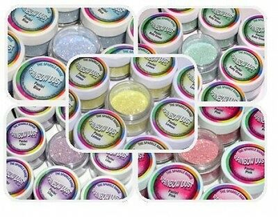 PASTEL RAINBOW DUST 'EDIBLE' CAKE GLITTER yellow green blue orange pink lilac