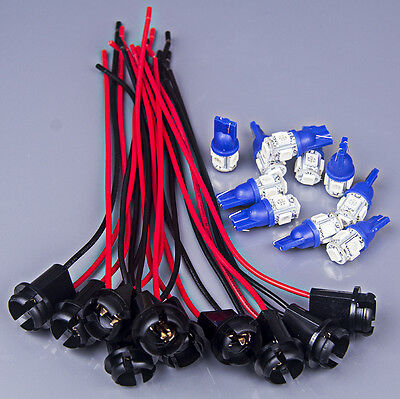 10set T10 W5W Blue 5-LED Instrument Bulb Socket Extension Connector Wire Harness