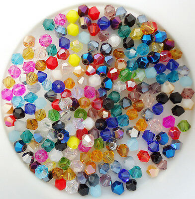 Free Mixed colors 100/500Pcs swarovski Jewelry  crystal 5301 4mm bicone Beads