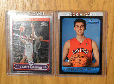 Andrea Bargnani (2) Two card rookie lot. 2006-07 Topps Chrome, Bowman Rookies