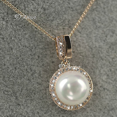18K Gold Filled Made With Swarovski Crystal Pearl Pendant Necklace