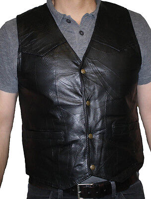 Men's Motorcycle Genuine Patch Leather Black VEST FREE SHIPPING Only $18.99