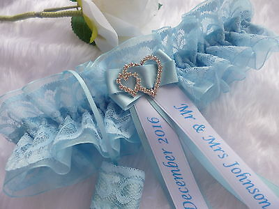 Personalised Wedding Garter Blue/white Or Blue/ivory Option Of Lucky Sixpence