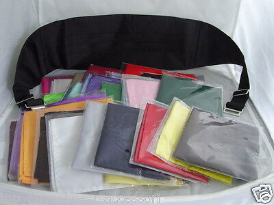 Deal>Mens BLACK Only Polyester Cummerbund +1 Hankie in any of the Listed Colours