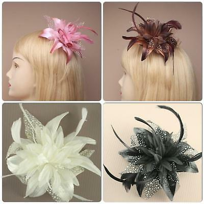 Large Feather Flower Fascinator On Clear Comb Pink Cream Black Or Brown