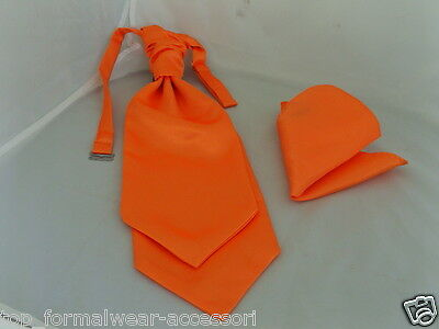 NEON Orange MENS Wedding Ruche Tie-Cravat and Hankie Set -More U Buy>More U Save