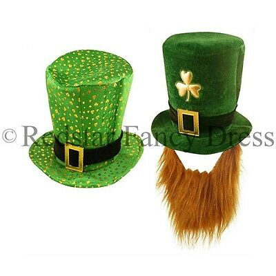 St Patricks Day Fancy Dress Green Hats Clovers Ginger Beard Irish