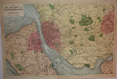 1886 G W Bacon Map LIVERPOOL & ENVIRONS Detailed & Decorative, Rich Colour!