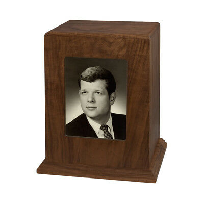 Wood Adult Cremation Urn (Wooden Urns) - Walnut Vertical Photo