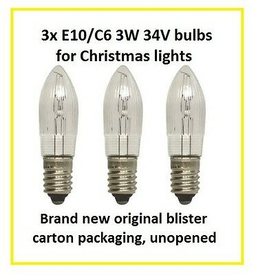 3x 3W 34V C6 E10 Christmas Candle Arch Bridge Light spare screw bulbs
