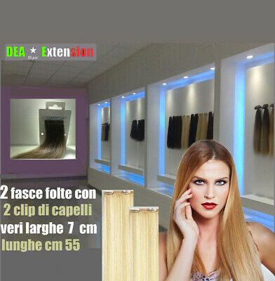 Extension 2 Fasce Con 2 Clip Lunghe 55 Cm-100% Capelli Veri-Top Remy Made Italy