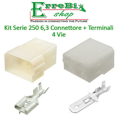 Kit Connettore Serie 250 6,3 Faston Maschio Femmina 4 Vie + Terminale Auto Moto