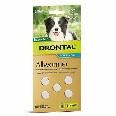 Drontal All-Wormer for Worming Medium Dogs to 10kg - 5 Worm Tablets