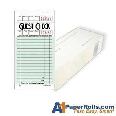 Lot of 2 Cases of A1G3616-1 Green Single Page Guest Checks 5000/case