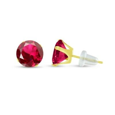 Created Red Ruby 10K Yellow Gold Stud Earrings 2mm - 10mm Choose Your Size