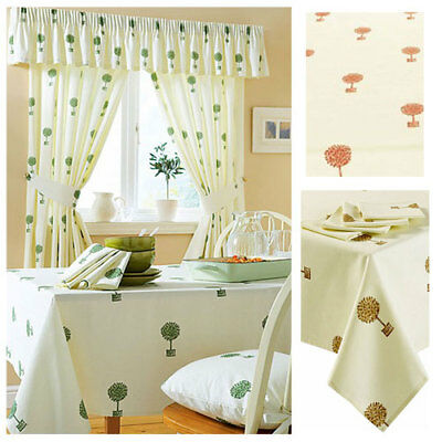 BOX TREE kitchen tablecloths OR seat pads cream, green or terracotta CLEARANCE
