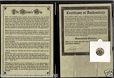 "1 - ANCIENT ROMAN COIN ""PRUTAH WIDOW'S MITE"" in THE BIBLE Display Album w/ COA"