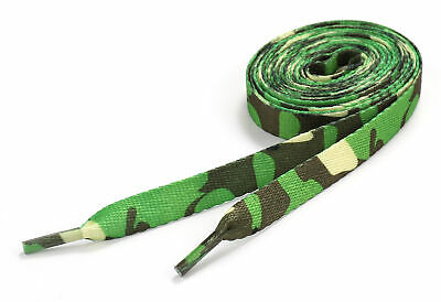 Flat Shoelaces Army Camo Skate Shoe Laces Green Woodland Camouflage