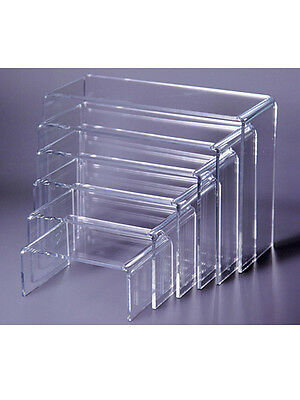 "Acrylic Display Riser Set Of 6Pcs - 4W"" To 8W"", 3/16""t Plexi Riser Set - 86-505"