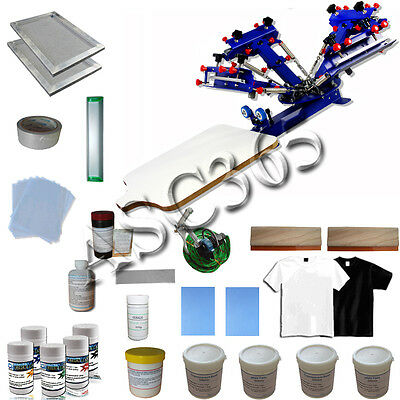 4 Color 1 Station Screen Printing Press w/ DIY Hobby Materials Kit Fast Shipping