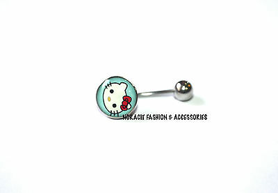 316l Surgical Steel *CUTE RED BOW HELLO KITTY* Navel/Belly Ring - NV177