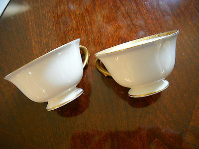 "2 Morgan Belleek Gold Encrusted Ivory Pattern 4A Coffee Cups ""No Marking"""