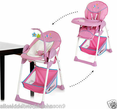 NEW Hauck Sit'n relax 2in1 zoomy baby highchair+bungee in Pink Butterfly
