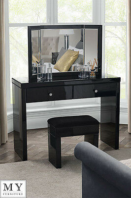 Chelsea Black Glass high gloss Mirrored furniture Dressing Console table 2Legs