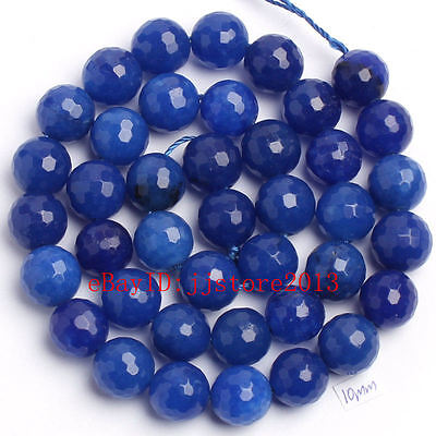 """10mm Natural Blue Jade Faceted Round Shape Gemstone Loose Beads Strand 15"""""""