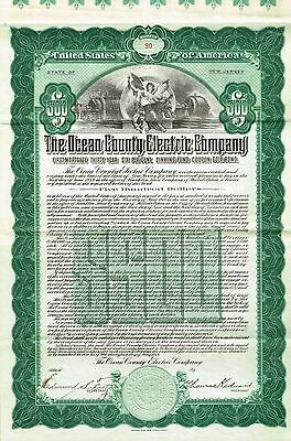 USA OCEAN COUNTY ELECTRIC GOLD BOND stock certificate 1919 $500