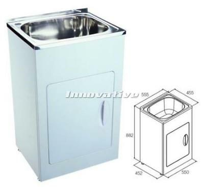 Porcelain Laundry Trough : Laundry Trough Sink and Metal Cabinet 35 Litre wide 555mm Stainless ...