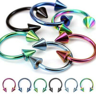 PAIR of 16G Titanium Anodized Horseshoe Circular Earring Lip Septum with SPIKES