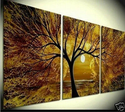 3PC LARGE ART OIL PAINTING WALL DECOR ON CANVAS -Tree of Life