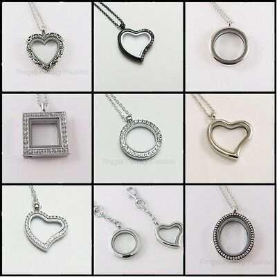 New Magnetic Glass Locket with Chain holds Floating Charms 30mm Round & Heart