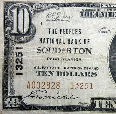 1929 $10 National Bank Note ✪ Peoples Nb Of Souderton ✪ Pa 13251 ◢Trusted◣